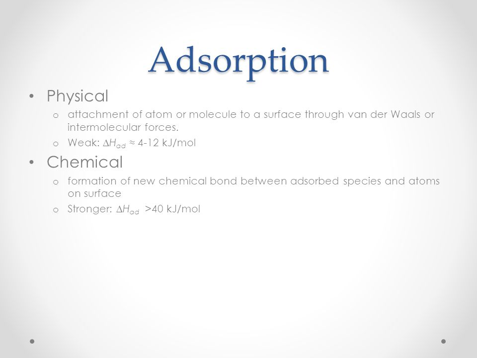 Adsorption Physical Chemical
