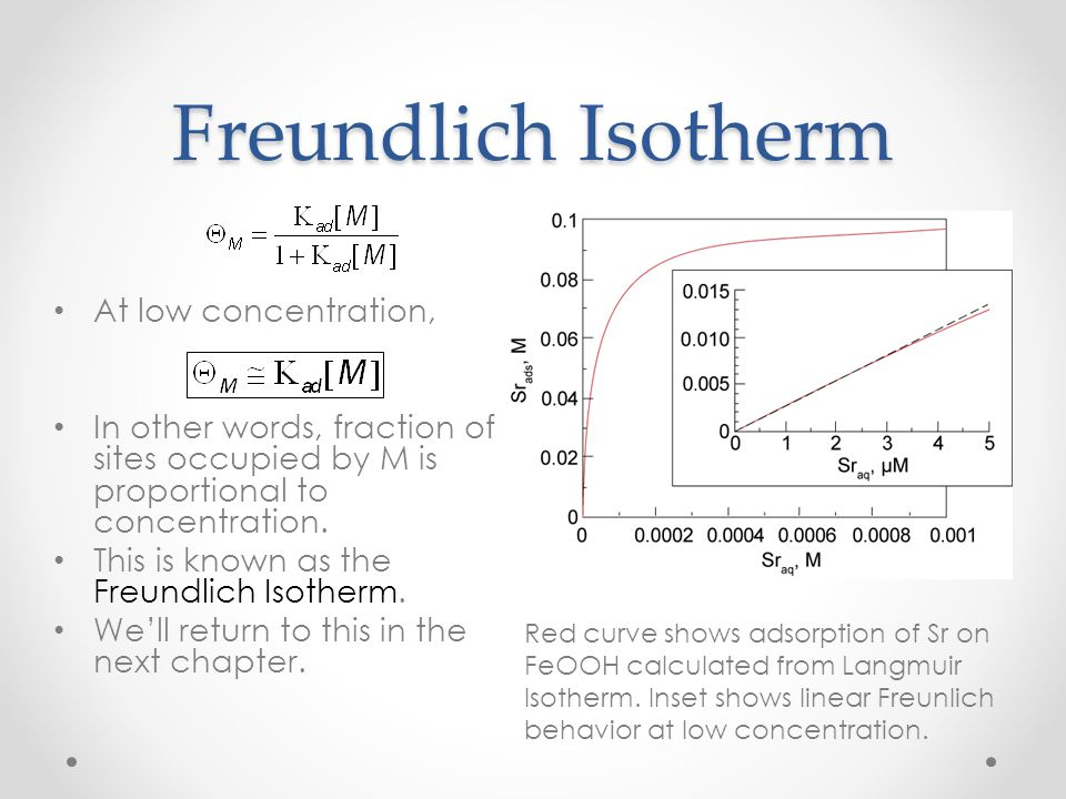 Freundlich Isotherm At low concentration,