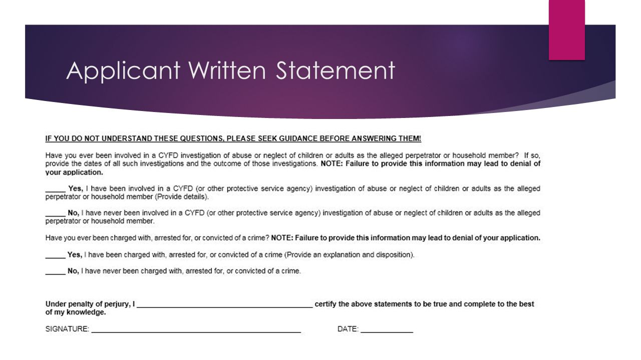 Applicant Written Statement