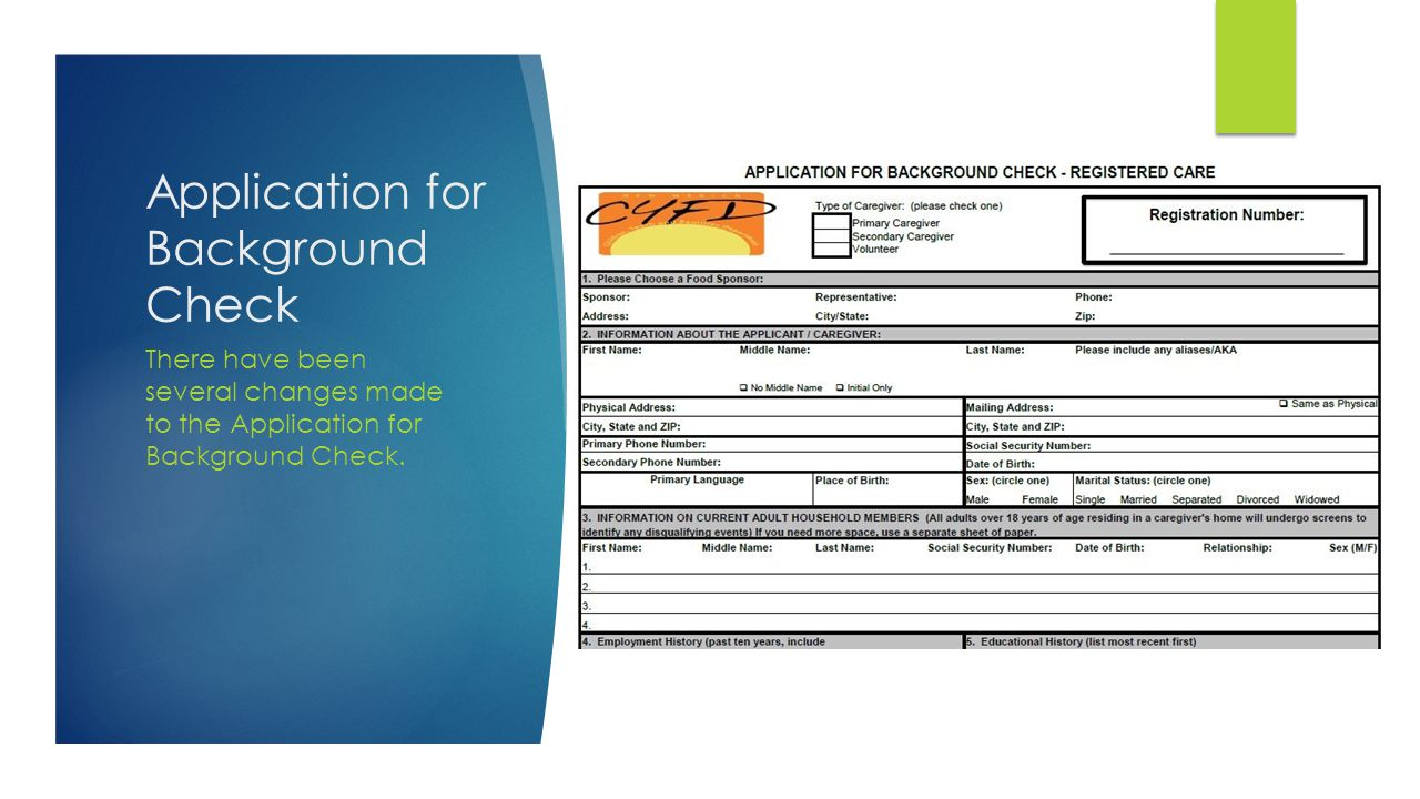 Application for Background Check