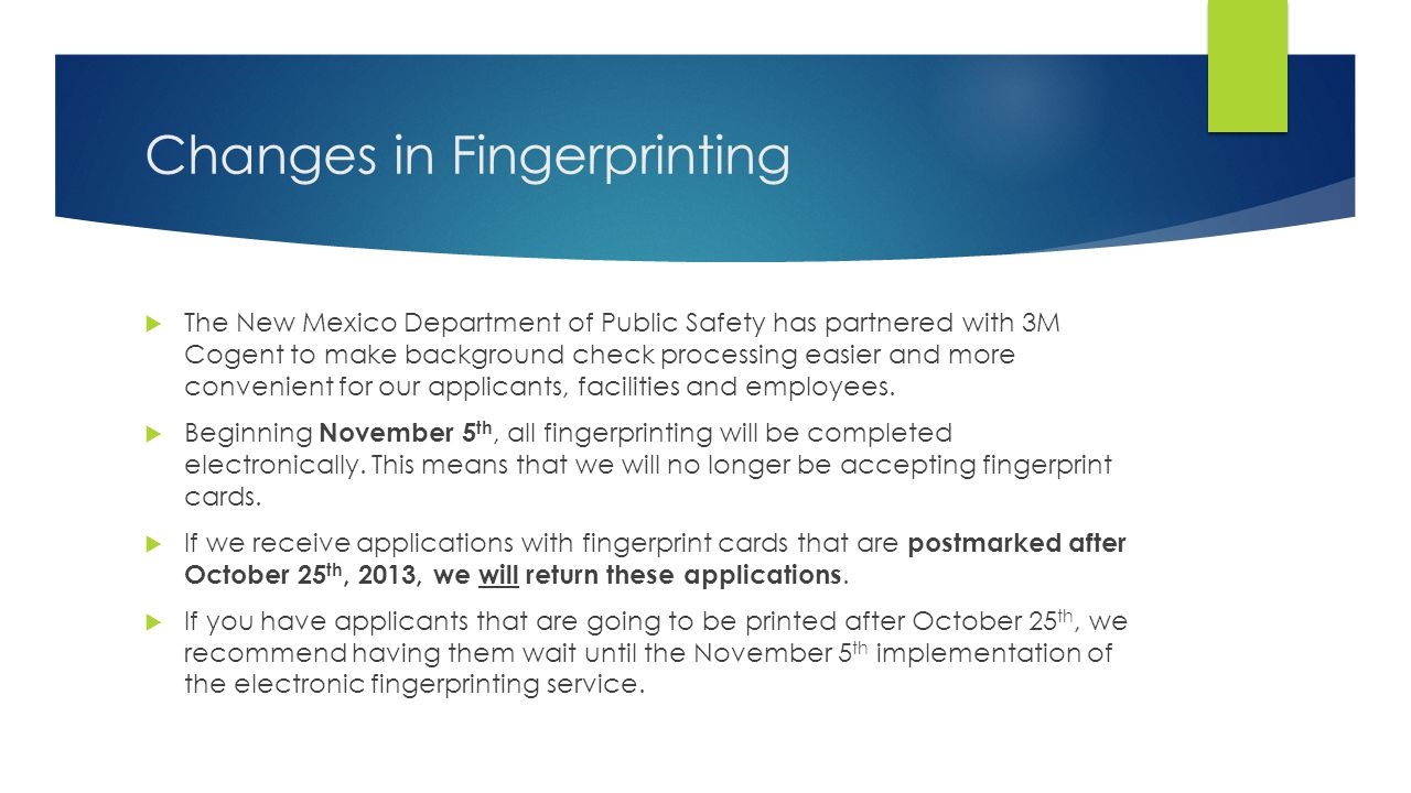 Changes in Fingerprinting