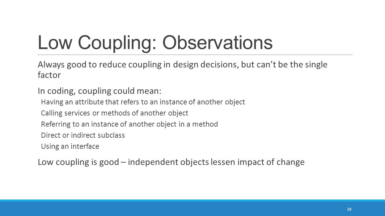 Low Coupling: Observations