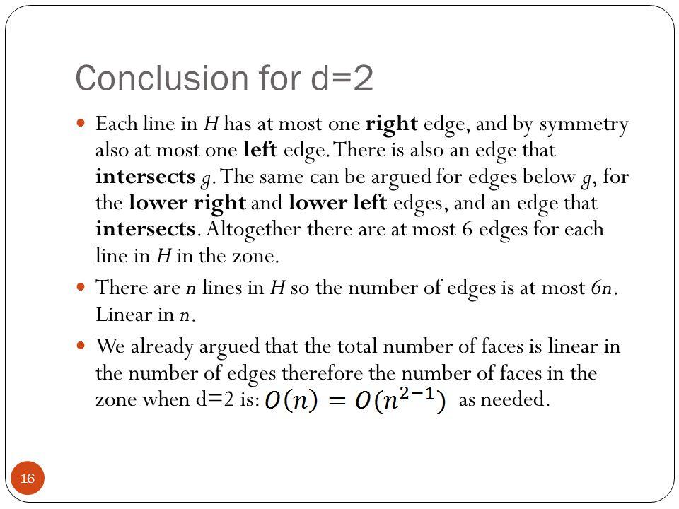 Conclusion for d=2