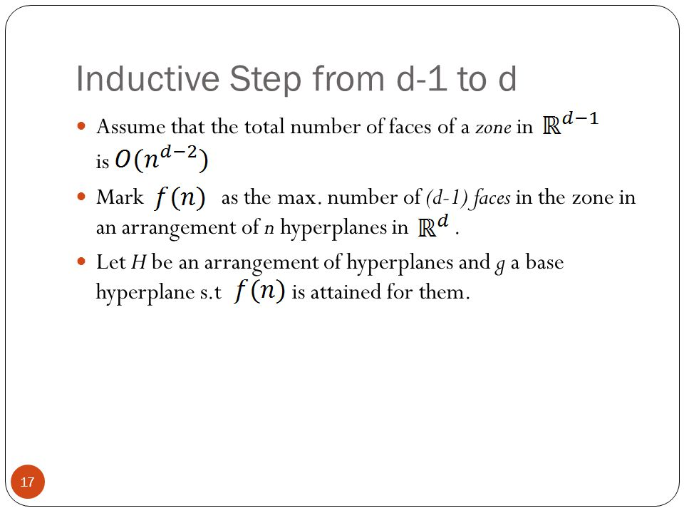 Inductive Step from d-1 to d