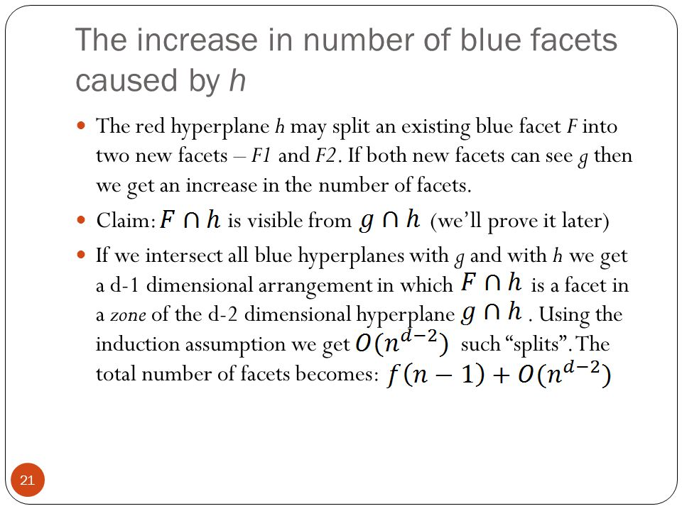The increase in number of blue facets caused by h