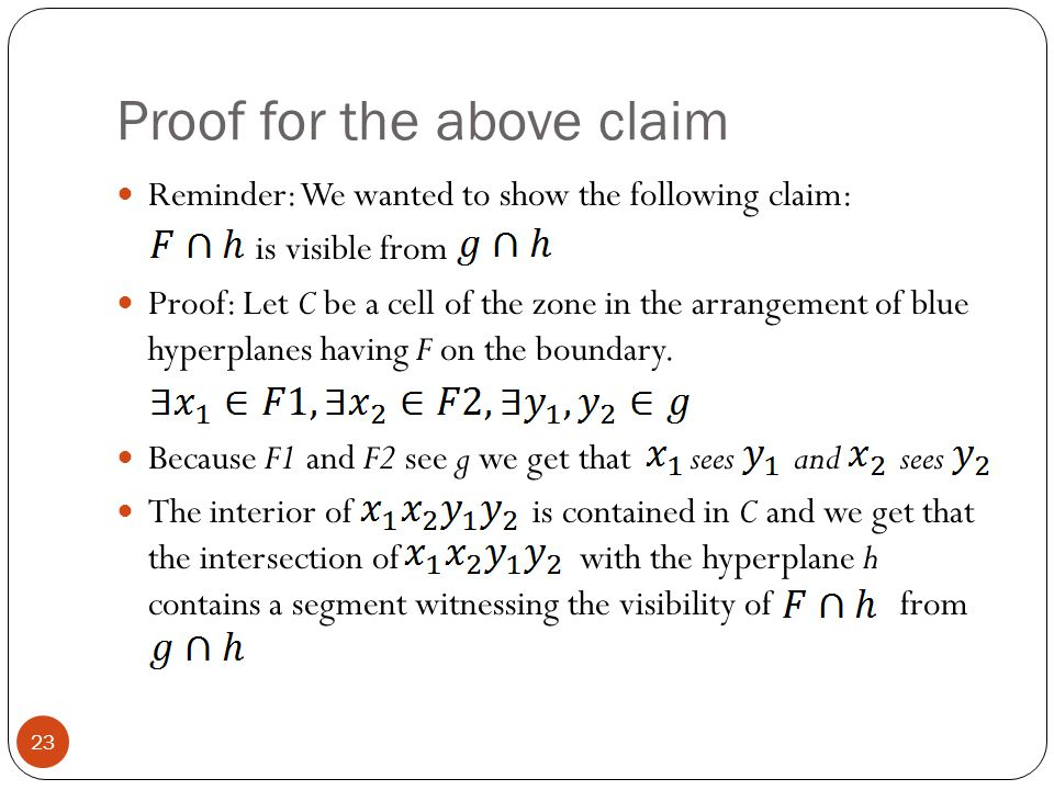 Proof for the above claim