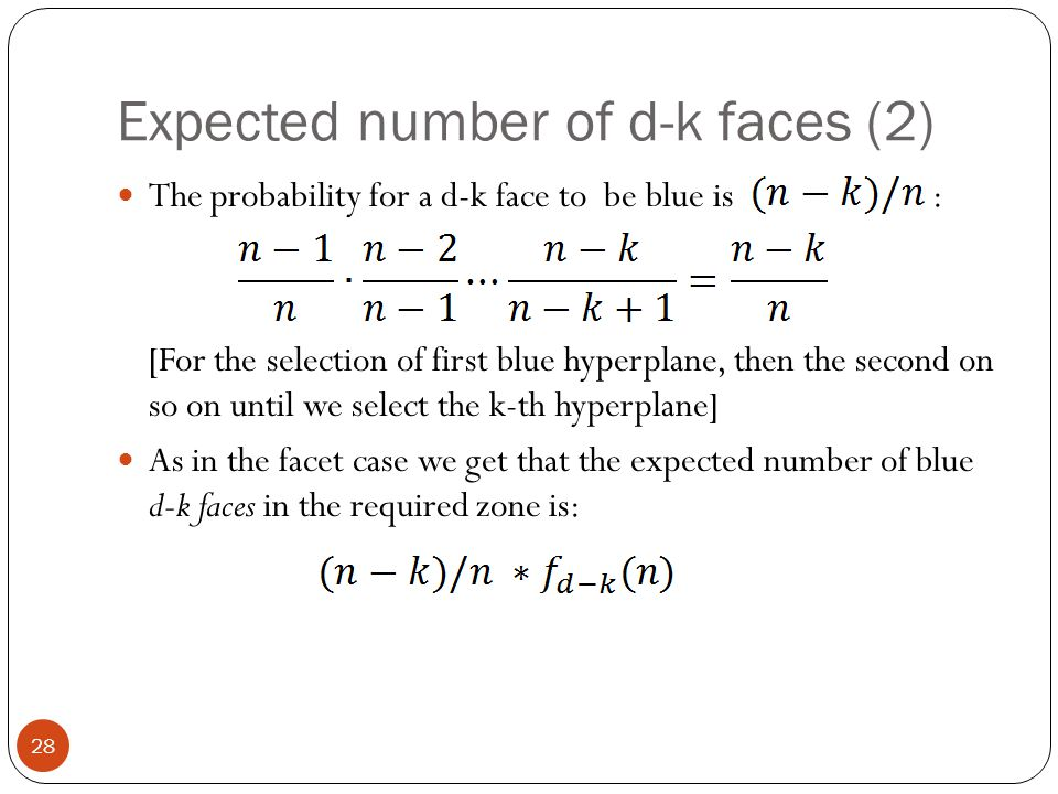 Expected number of d-k faces (2)