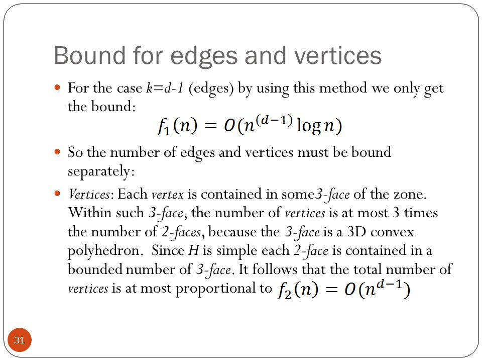 Bound for edges and vertices