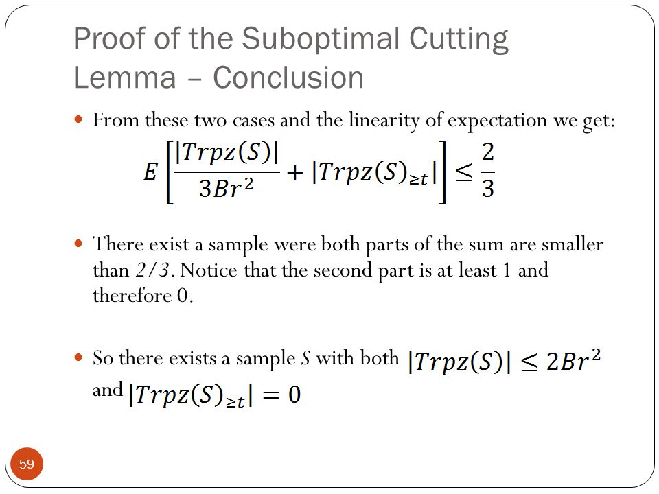 Proof of the Suboptimal Cutting Lemma – Conclusion