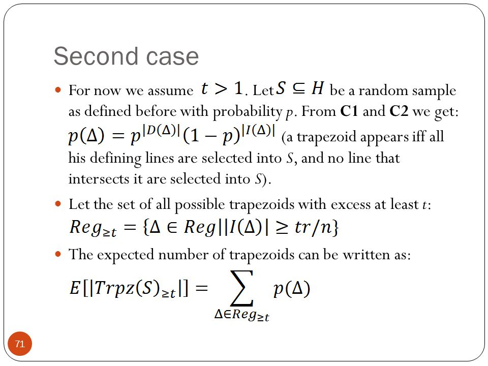 Second case For now we assume . Let be a random sample as defined before with probability p. From C1 and C2 we get: