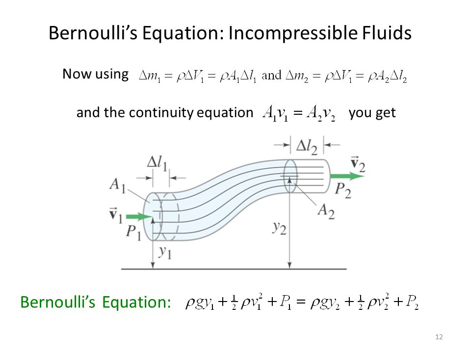 Bernoulli's Equation: Incompressible Fluids