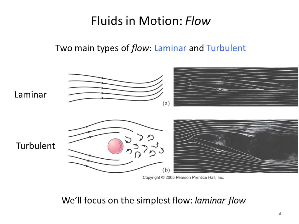 Fluids in Motion: Flow Two main types of flow: Laminar and Turbulent