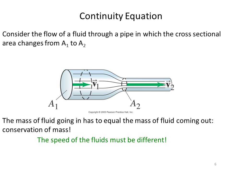 Continuity Equation Consider the flow of a fluid through a pipe in which the cross sectional area changes from A1 to A2.