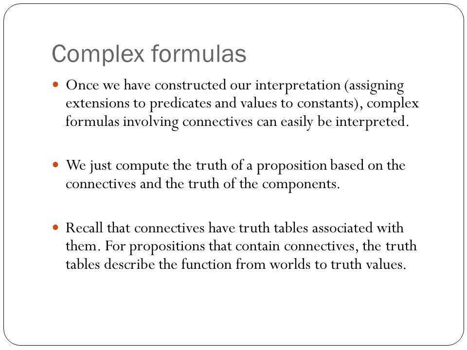 Complex formulas