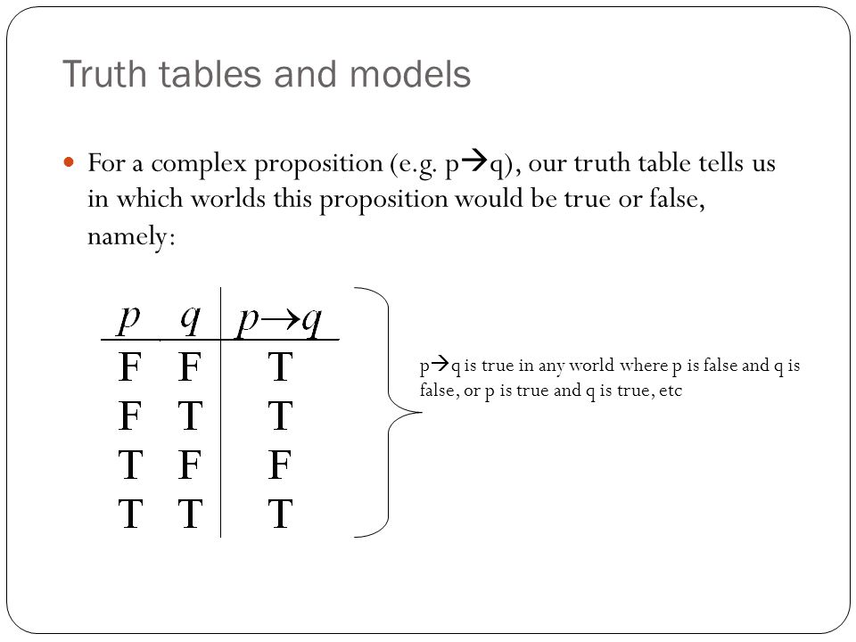 Truth tables and models