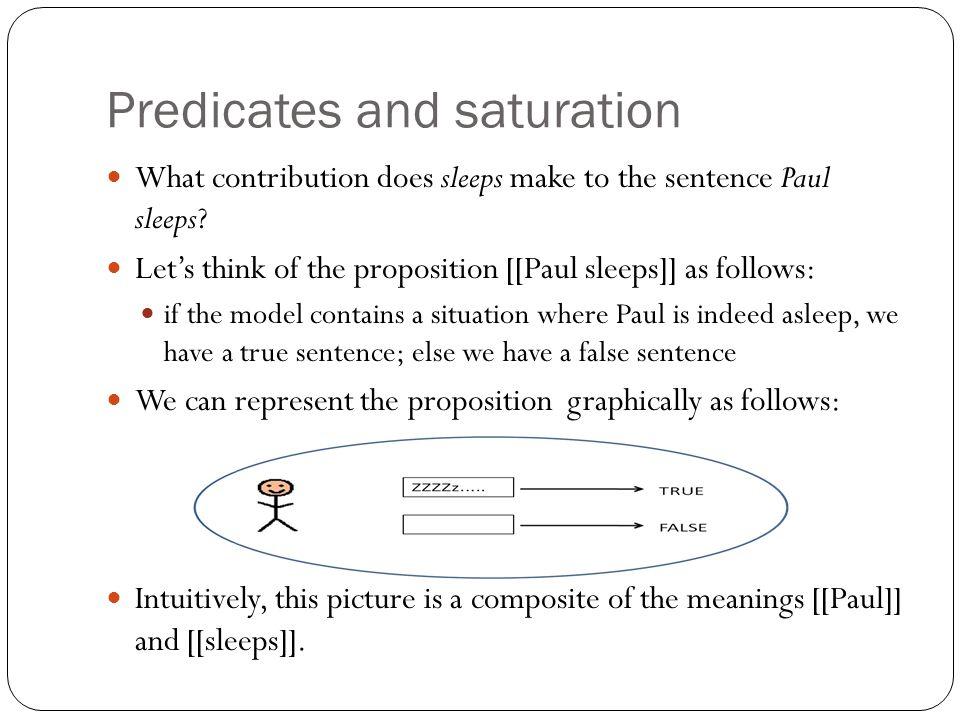 Predicates and saturation