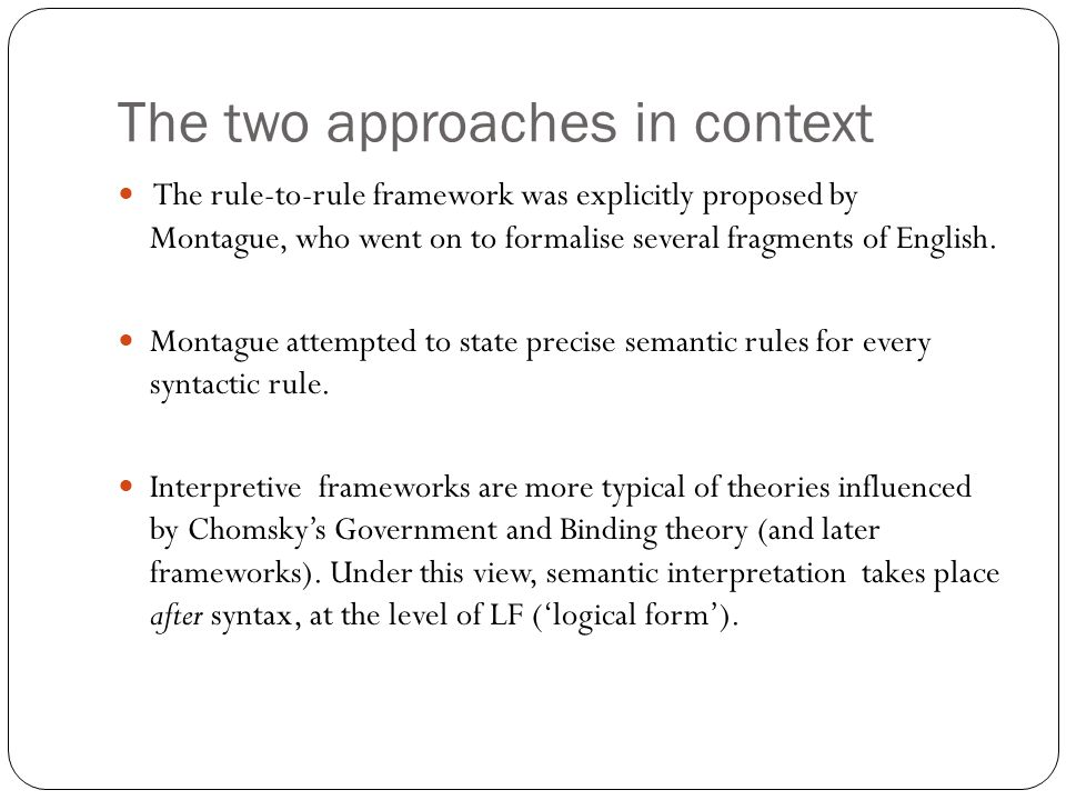 The two approaches in context