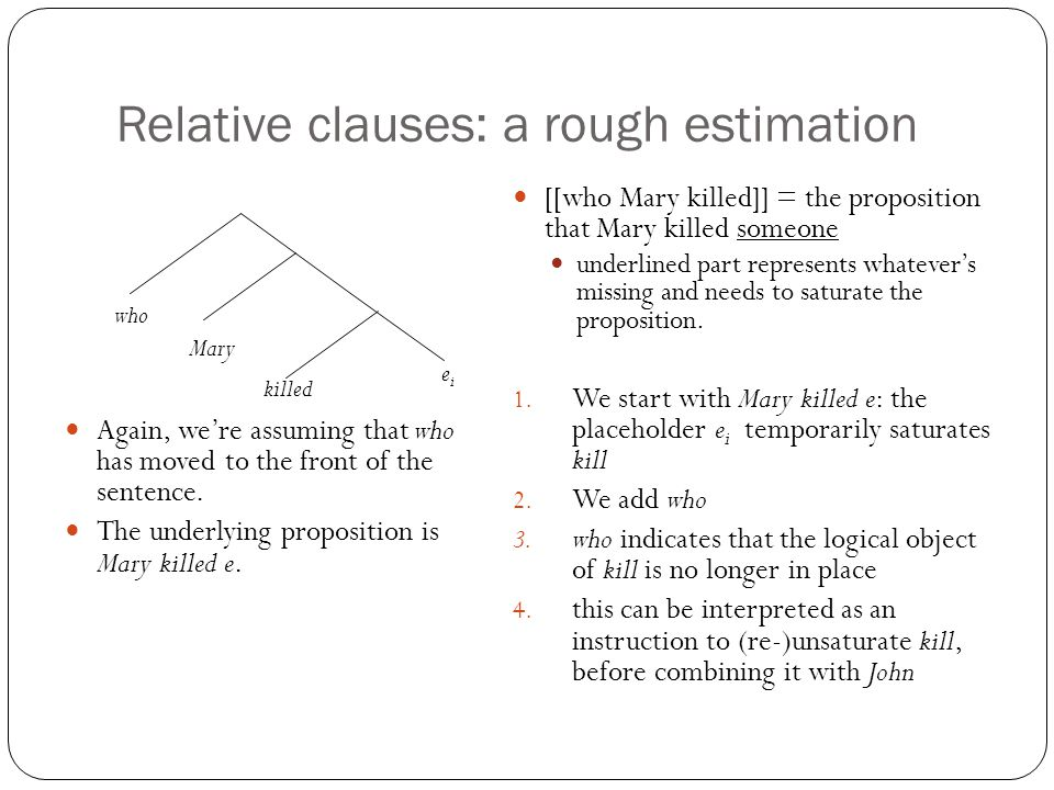 Relative clauses: a rough estimation