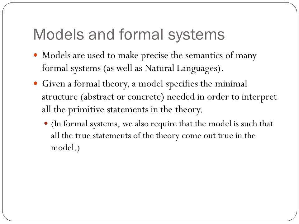 Models and formal systems