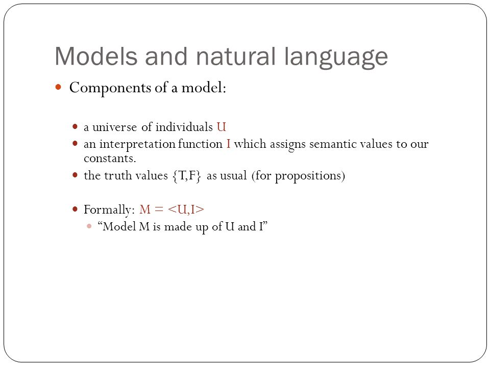 Models and natural language