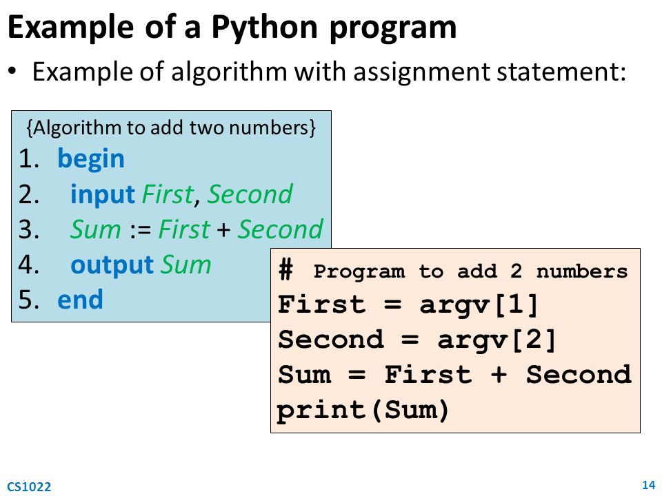 Example of a Python program