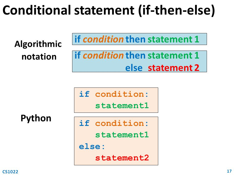 Conditional statement (if-then-else)