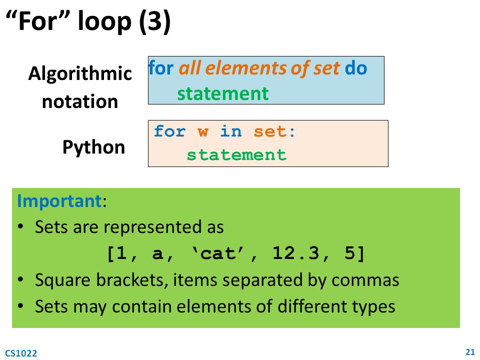 For loop (3) for all elements of set do Algorithmic statement