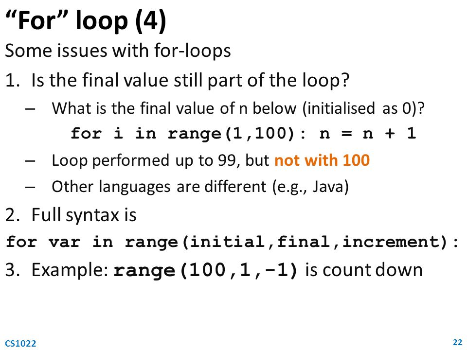 for var in range(initial,final,increment):