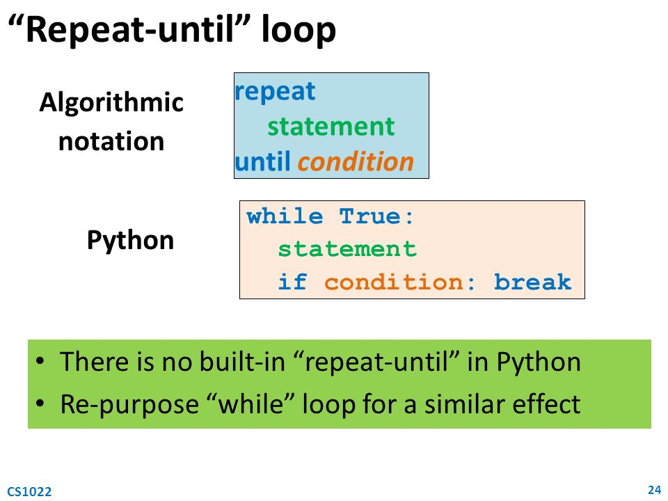Repeat-until loop repeat Algorithmic statement notation
