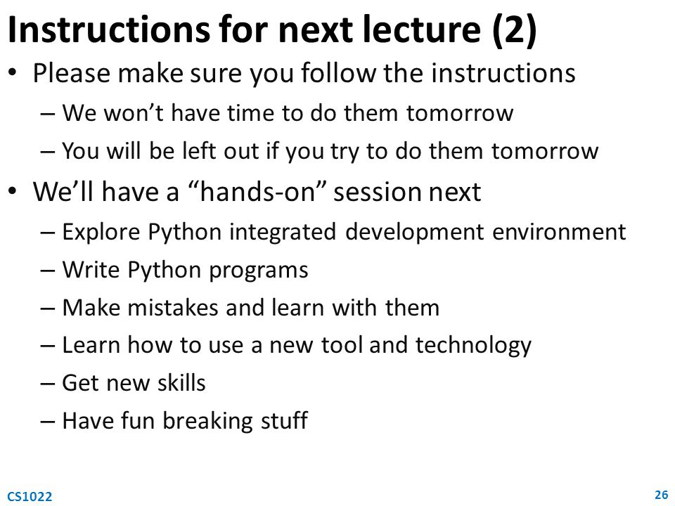 Instructions for next lecture (2)