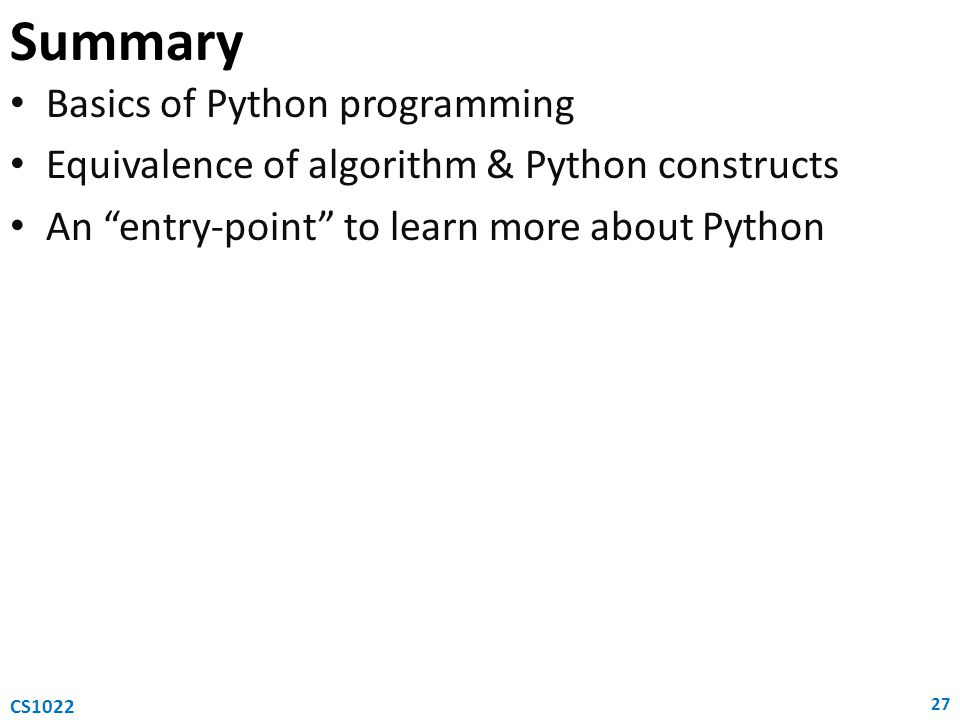 Summary Basics of Python programming