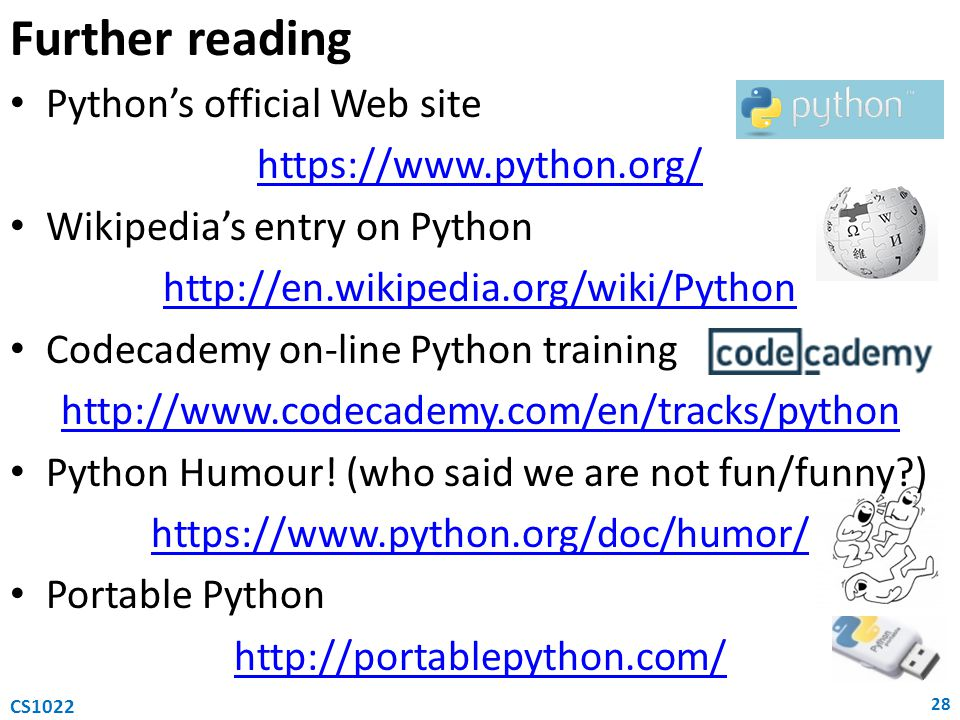 Further reading Python's official Web site https://www.python.org/