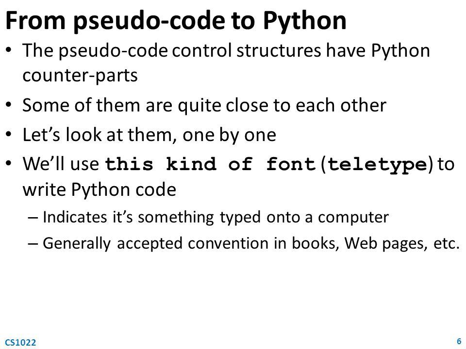 From pseudo-code to Python