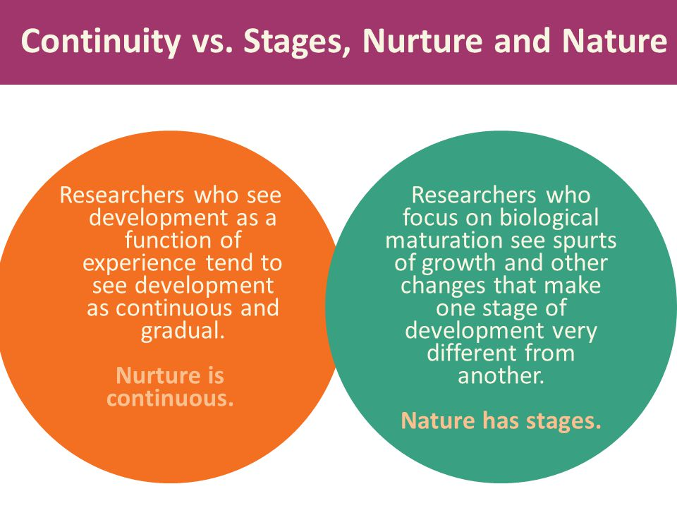 Continuity vs. Stages, Nurture and Nature