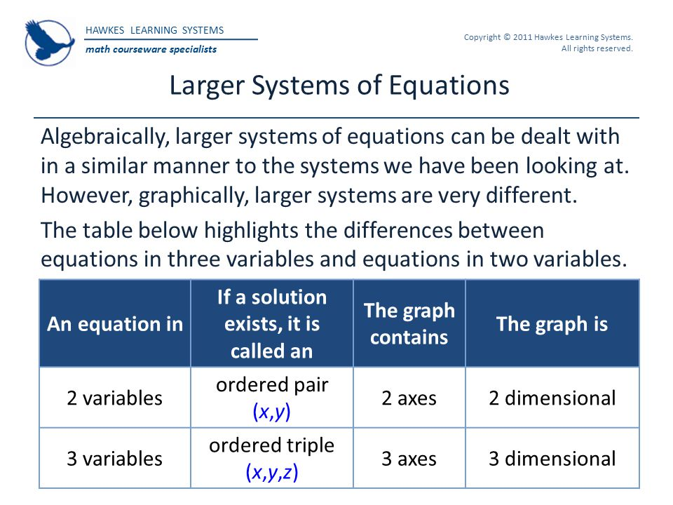 Larger Systems of Equations