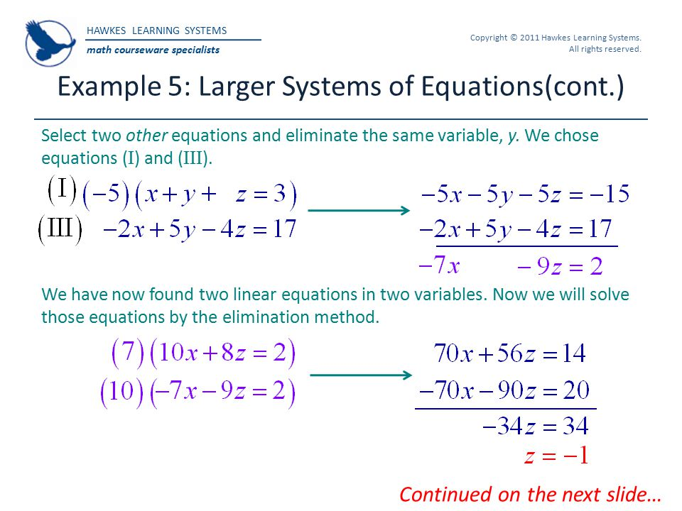 Example 5: Larger Systems of Equations(cont.)