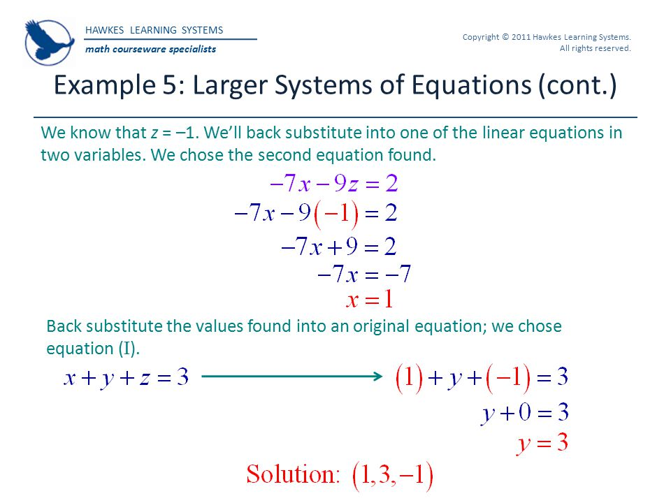Example 5: Larger Systems of Equations (cont.)