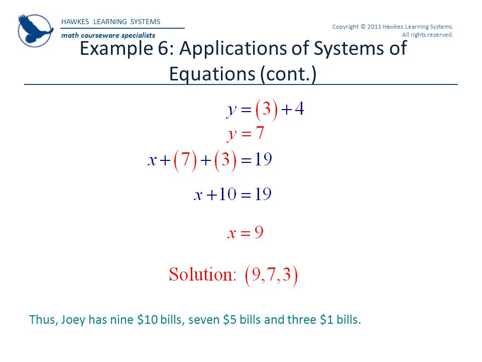 Example 6: Applications of Systems of Equations (cont.)