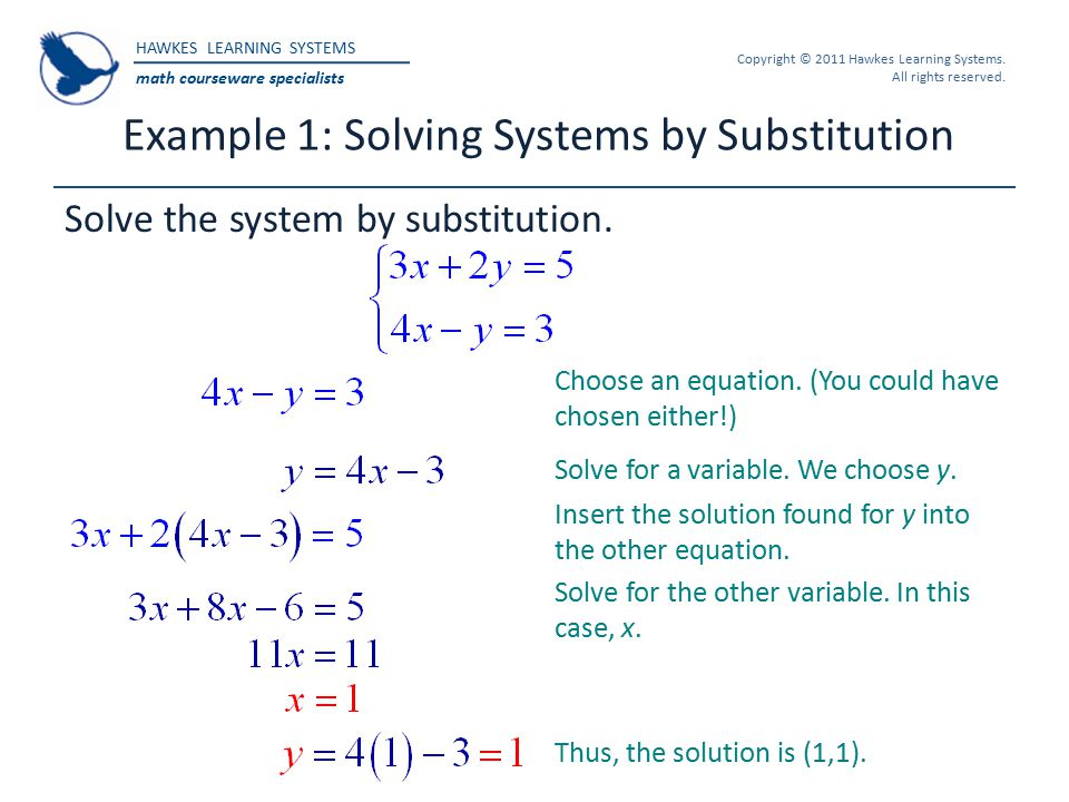 Example 1: Solving Systems by Substitution