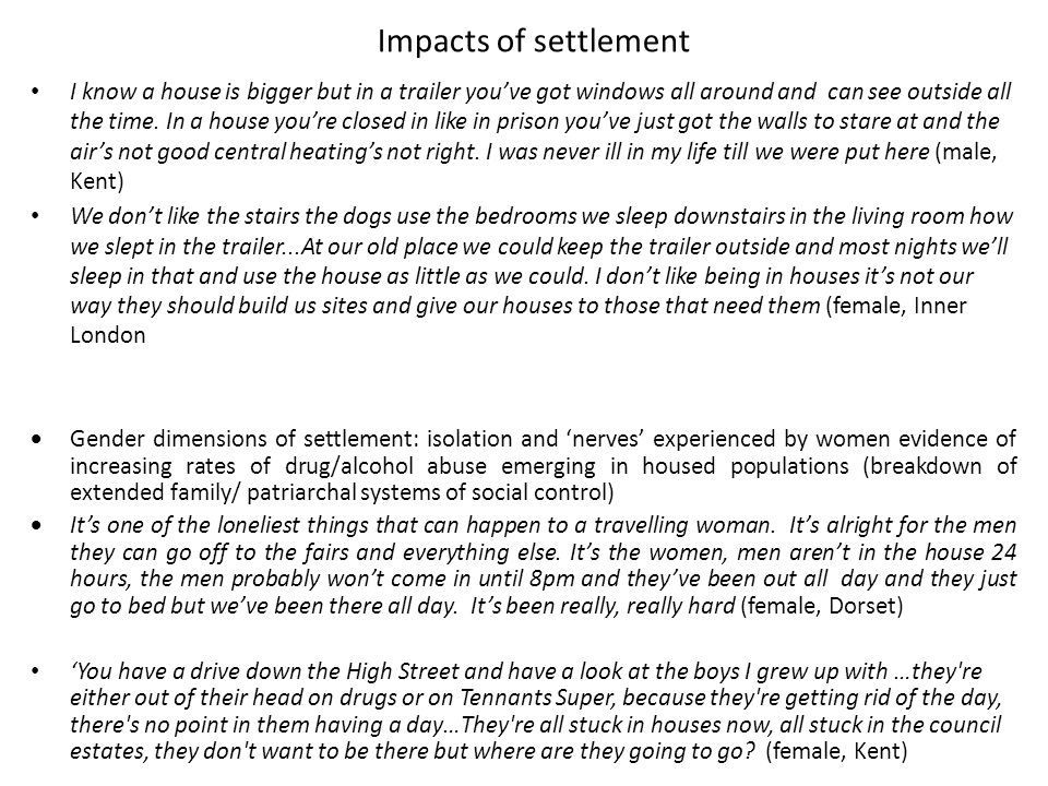Impacts of settlement