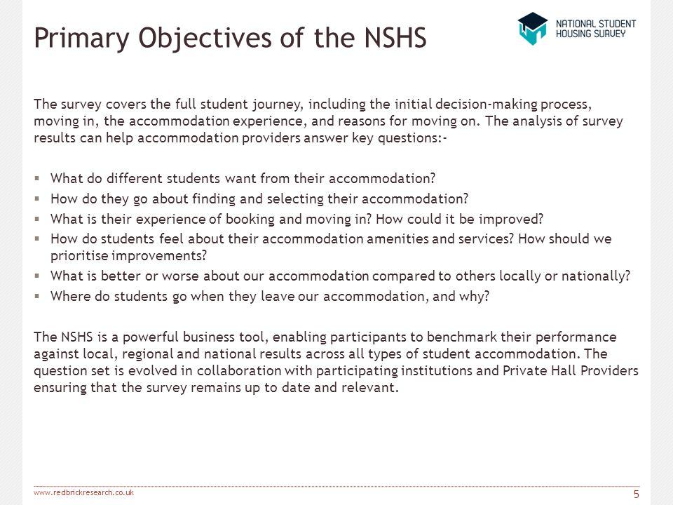 Primary Objectives of the NSHS