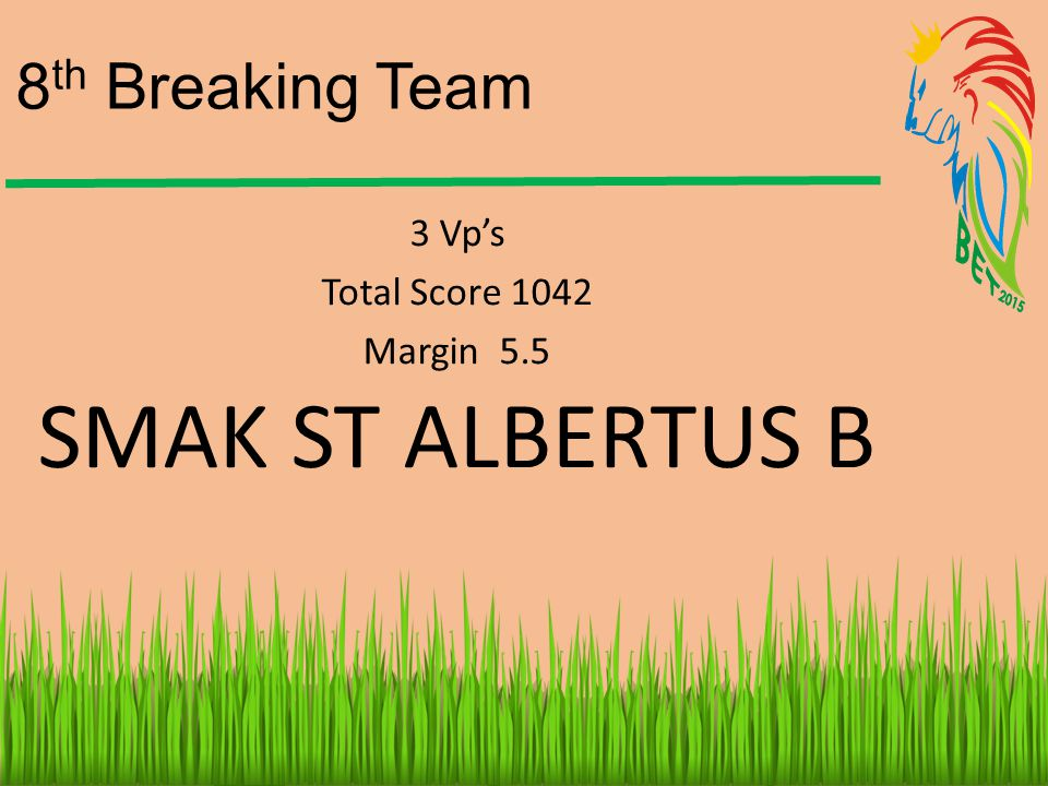 SMAK ST ALBERTUS B 8th Breaking Team 3 Vp's Total Score 1042