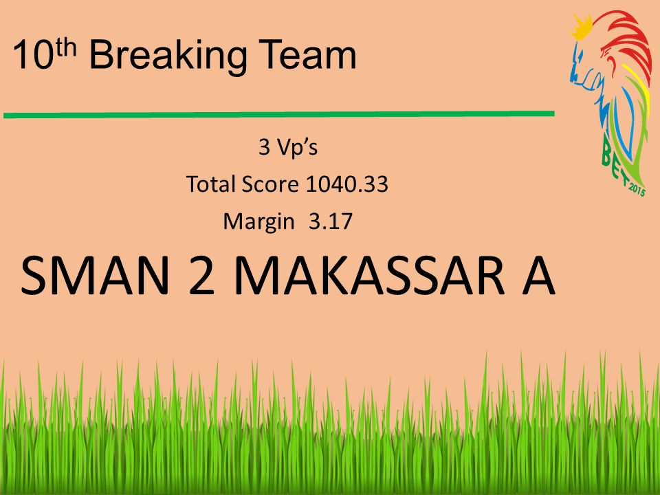 SMAN 2 MAKASSAR A 10th Breaking Team 3 Vp's Total Score 1040.33