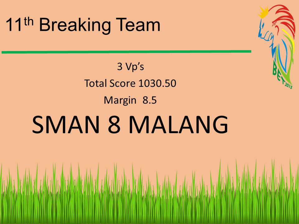 11th Breaking Team 3 Vp's Total Score 1030.50 Margin 8.5 SMAN 8 MALANG