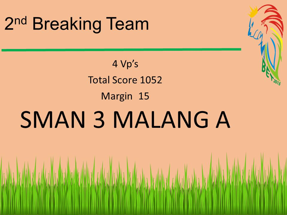 2nd Breaking Team 4 Vp's Total Score 1052 Margin 15 SMAN 3 MALANG A