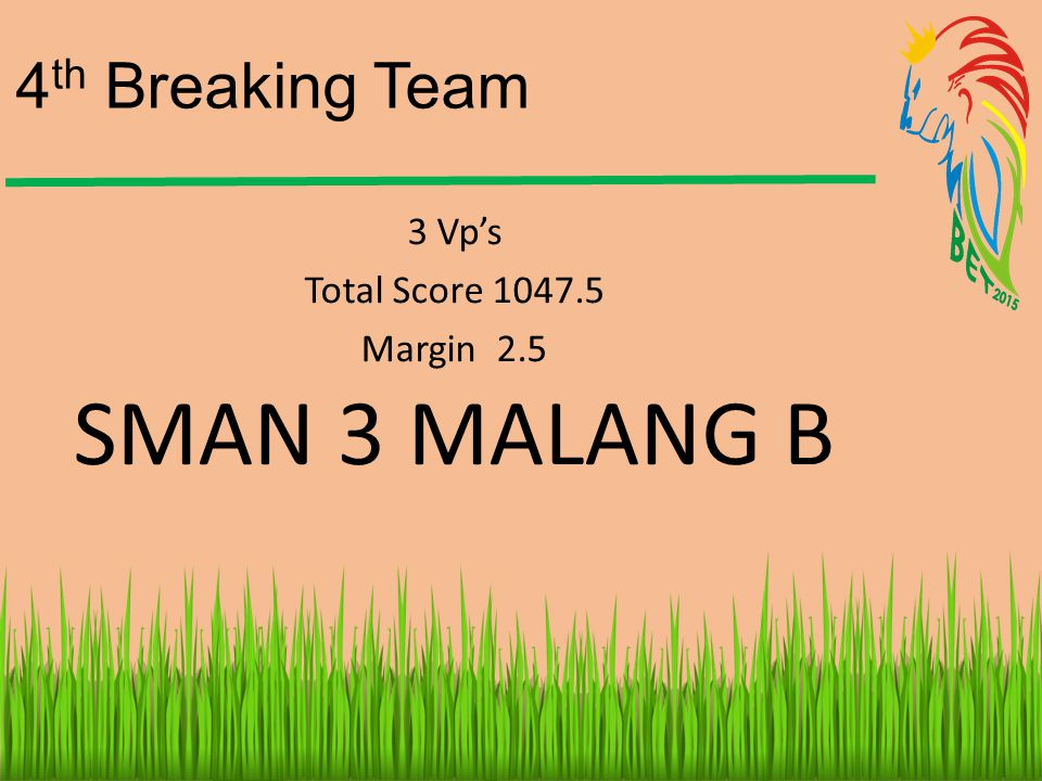 4th Breaking Team 3 Vp's Total Score 1047.5 Margin 2.5 SMAN 3 MALANG B