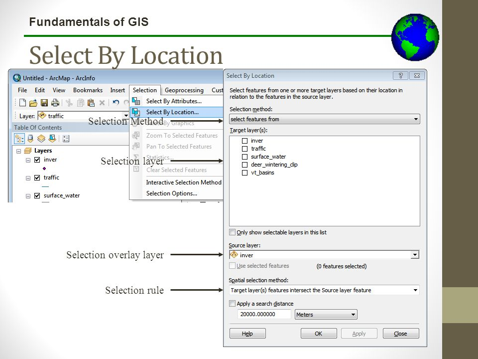 Select By Location Selection Method Selection layer