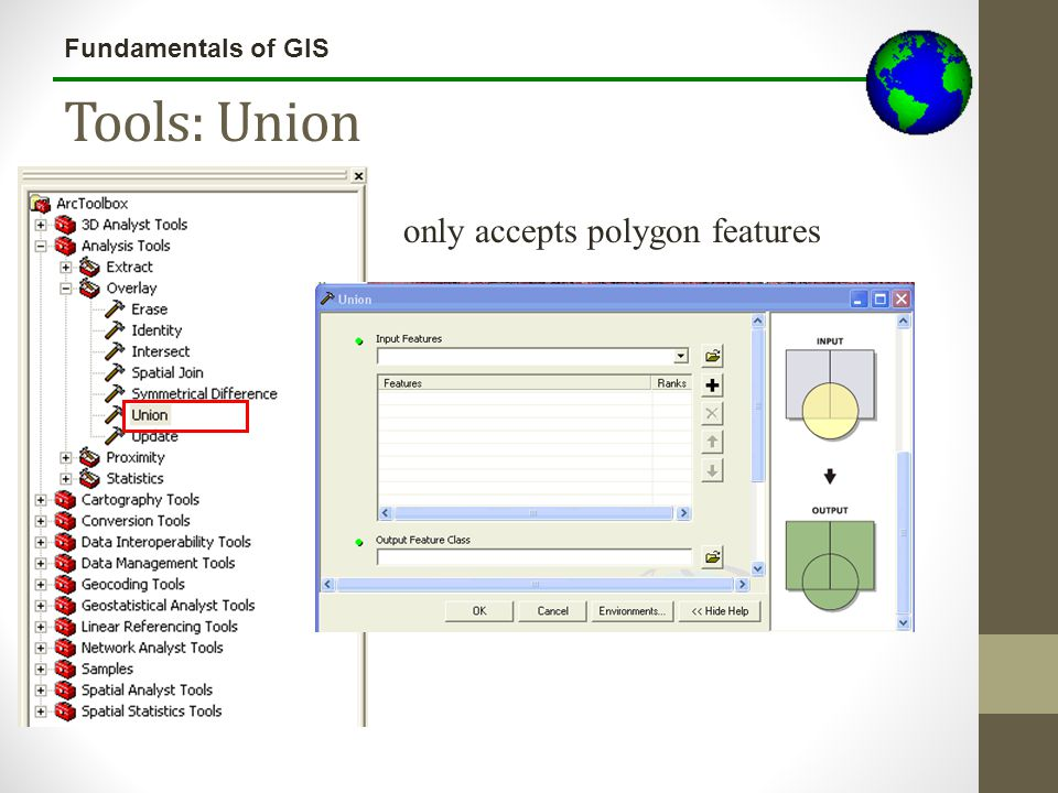 Lecture 3b Tools: Union only accepts polygon features
