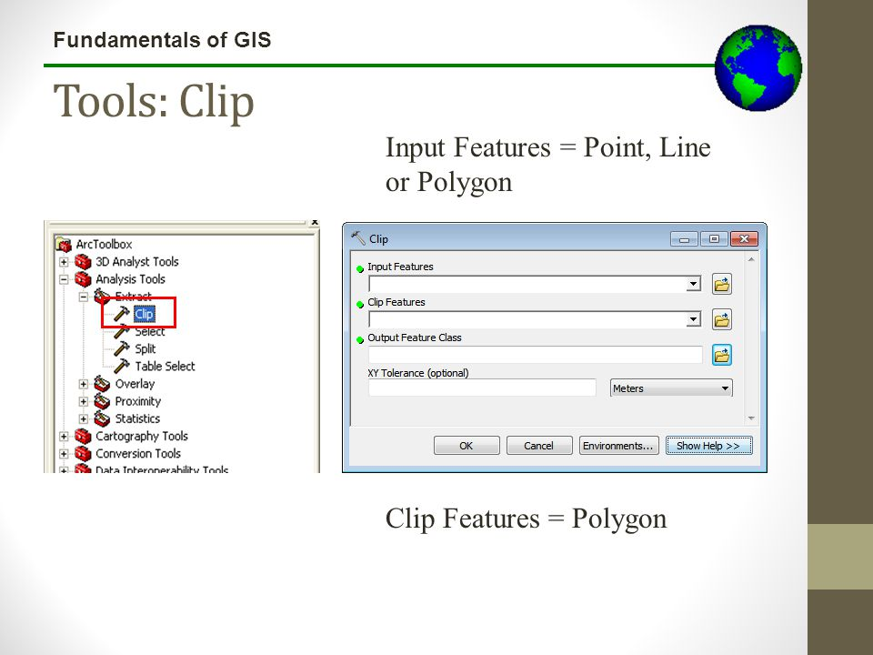 Tools: Clip Input Features = Point, Line or Polygon
