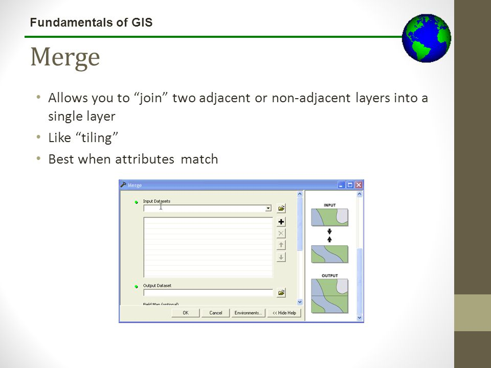 Lecture 3b Merge. Allows you to join two adjacent or non-adjacent layers into a single layer. Like tiling